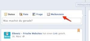Facebook Timeline Meilensteine