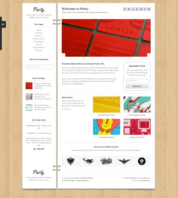Purty Creative Portfolio WordPress Theme