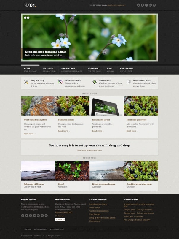 NX01 . Responsive drag & drop WordPress theme
