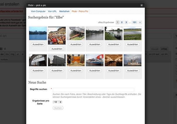 elbnetz artikel schreiben plugin flickr pick a pictureanzeige des suchergebnisses