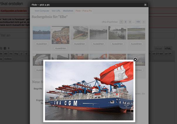 elbnetz artikel schreiben plugin flickr pick a picture icon foto anzeigen