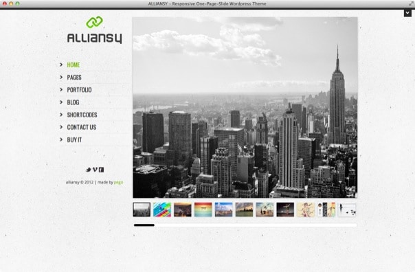 ALLIANSY-responsive one-slide wordpress theme