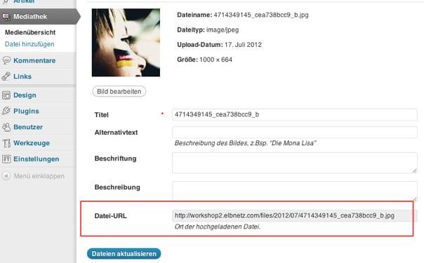 Datei-URL eines Bildes aus der Mediathek