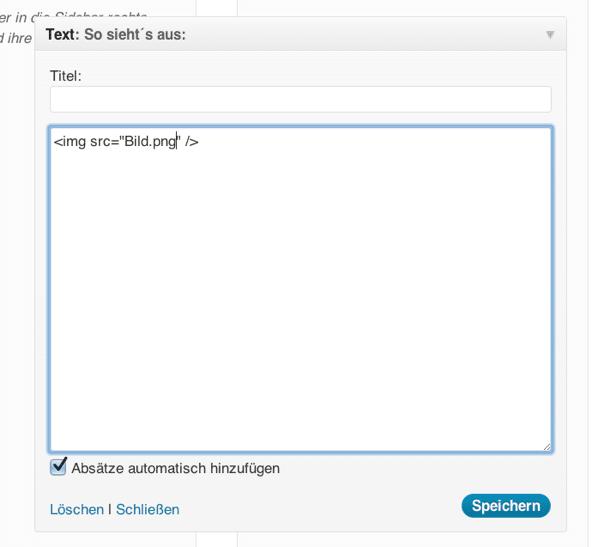 Bild in WordPress Text-Widget einfügen