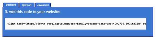 Google Web Fonts Code kopieren