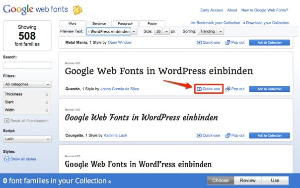 Google Web Fonts in WordPress einbinden