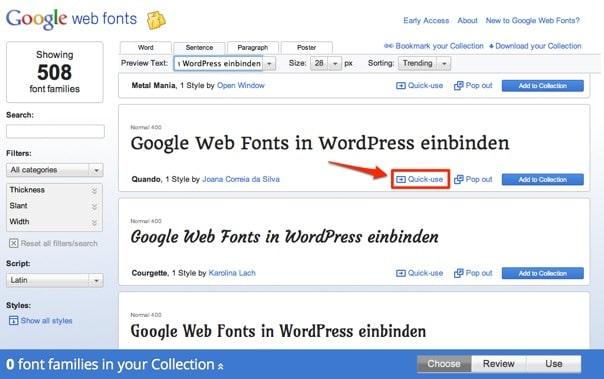 Google Web Fonts in WordPress einbinden