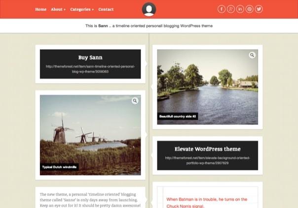Sann - Timeline Oriented Personal Blog WP Theme