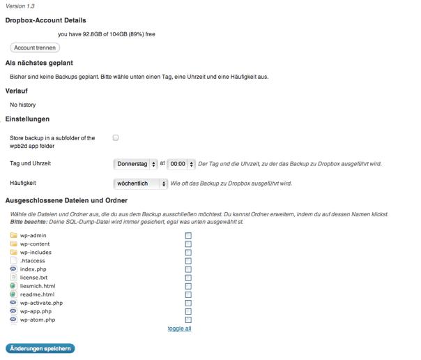 WordPress Backup in Dropbox