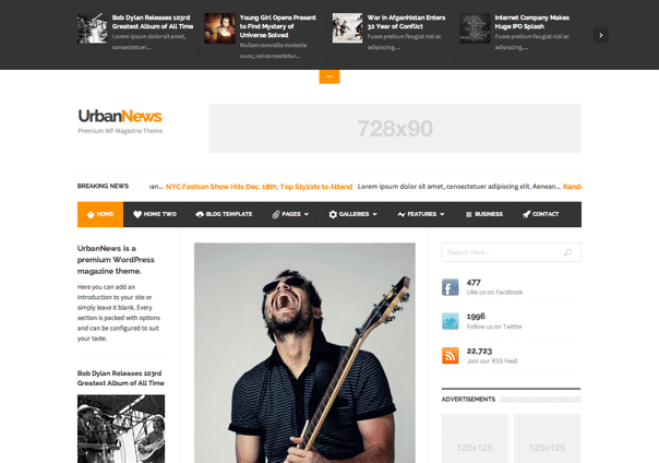 UrbanNews - WordPress Theme