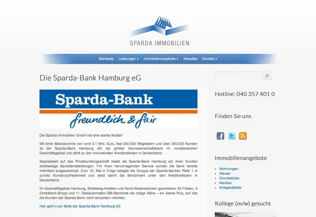 Website & Blog der Sparda Immobilien, Hamburg · Elbnetz