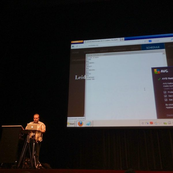 WordCamp Europe Bram Duvigneau sprach sehr beeindruckend ueber barrierefreie Websites