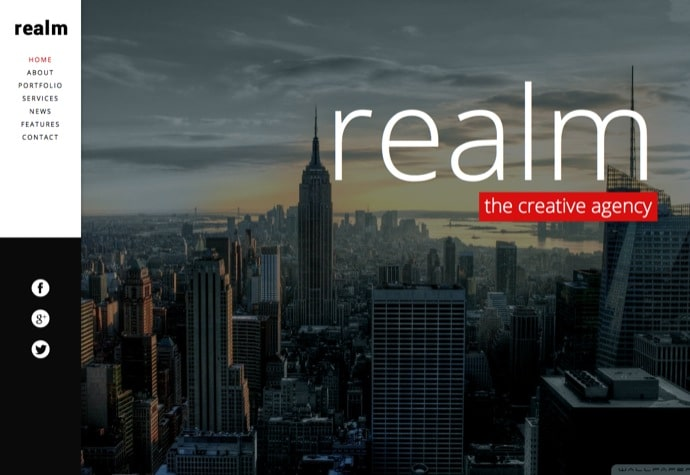 REALM - One Page Parallax Retina WordPress Theme