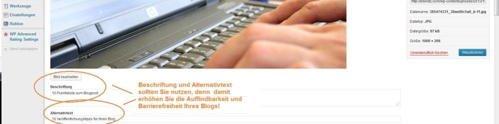 Wordpress An Bildbeschriftung denken