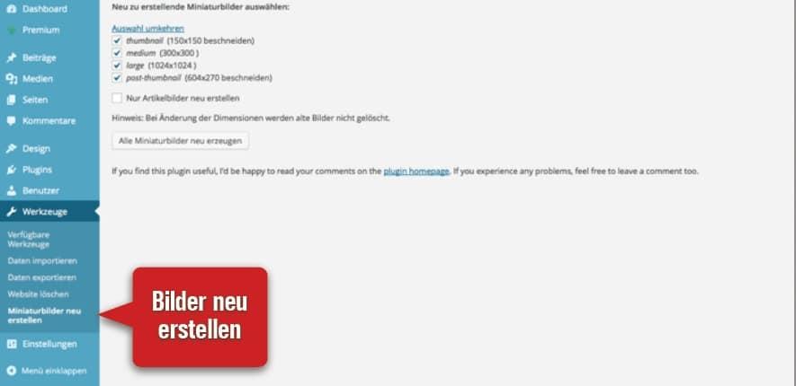 WP-Plugin Bilder neu erstellen 2014-02-06