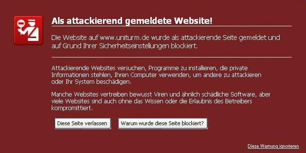 Malware-Befall einer Website