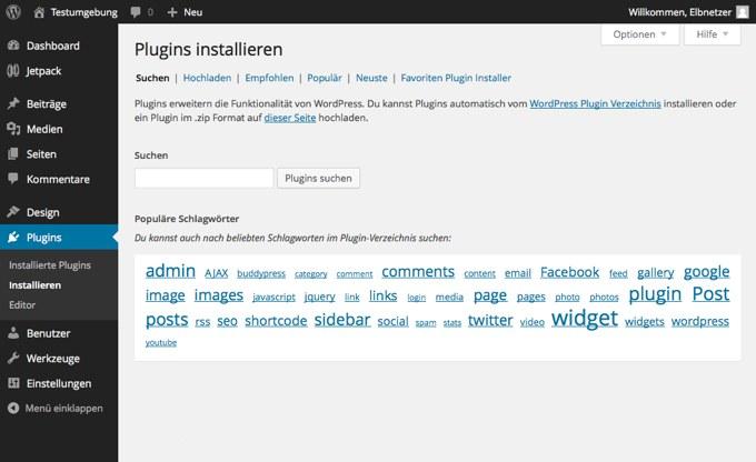 Plugins innerhalb WordPress installieren