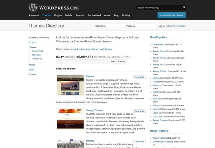 Themes bei WordPress,org