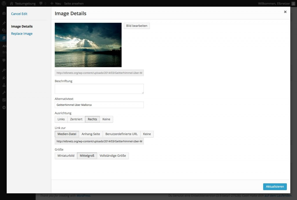 WordPress 3.9 Bilder bearbeiten