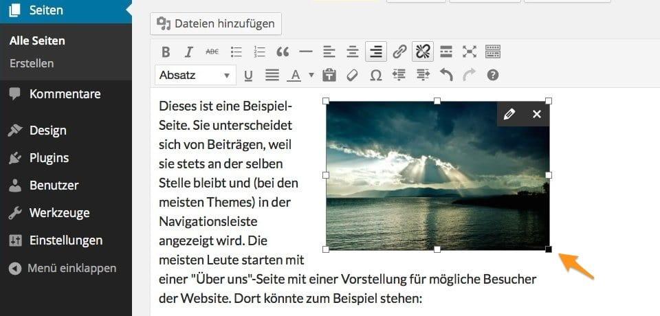 WordPress 3.9 Bildergroesse anpassen