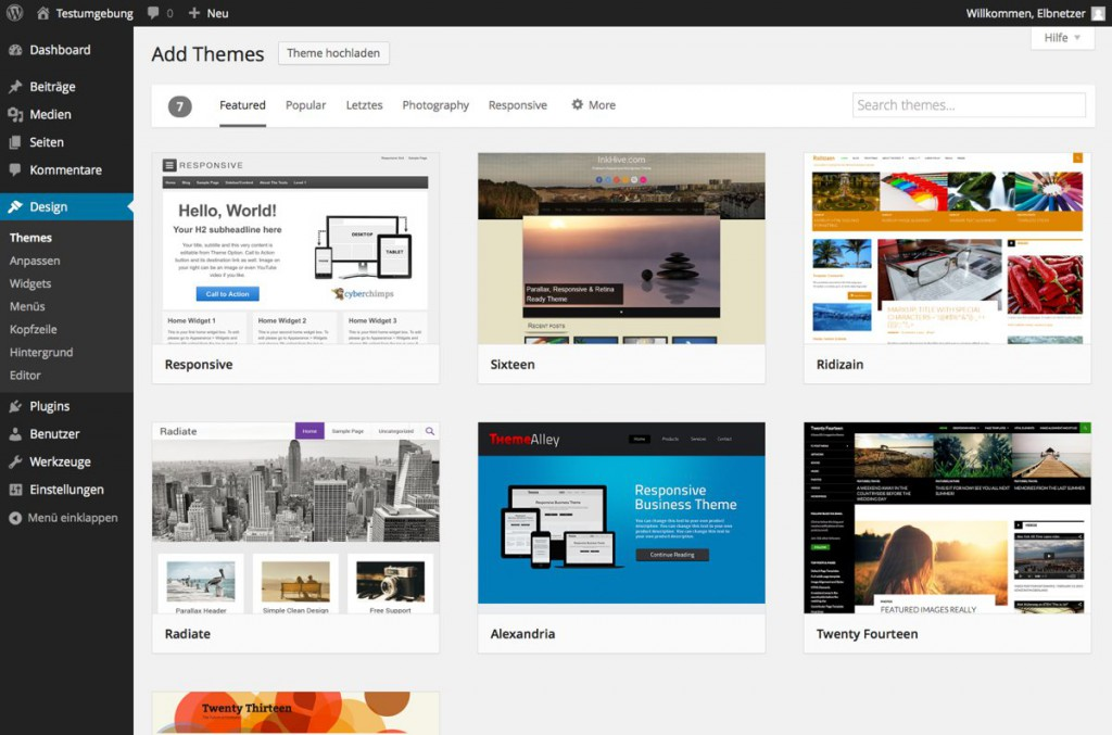 WordPress 3.9 Themes installieren