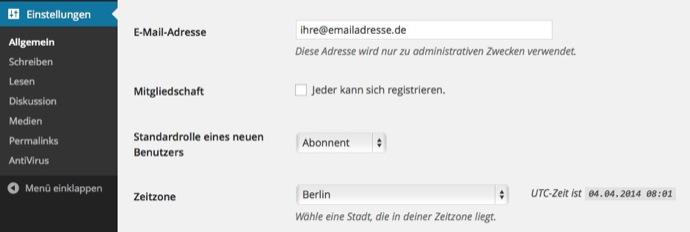 WordPress Uhrzeit richtig einstellen