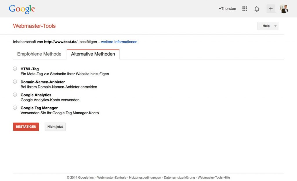 Alternative Anmeldemethoden Google Webmaster Tools