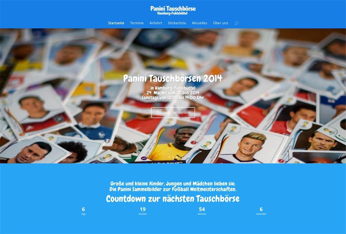 Landing Page für Panini Tauschbörse