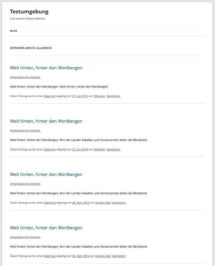 Typische Kategorieseite in WordPress