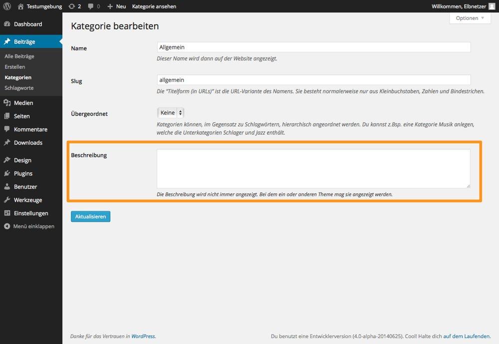 WordPress Kategoriebeschreibung