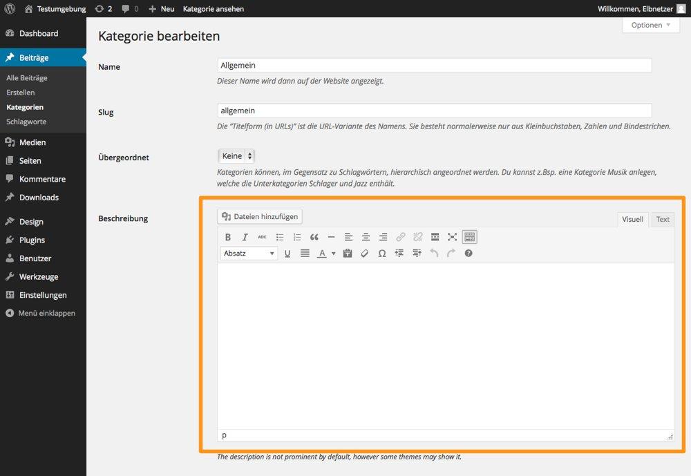 WordPress_Kategoriebeschreibung_mit_CategoryTinymce