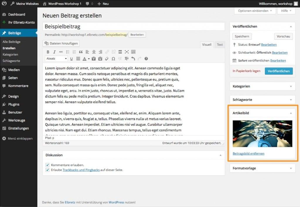 Beitragsbild in WordPress festlegen