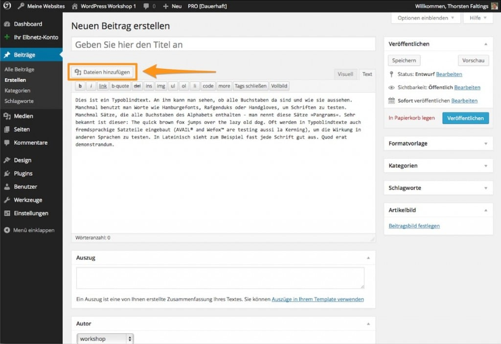 """WordPress - Bild hochladen über """"Datei hinzufügen"""""""