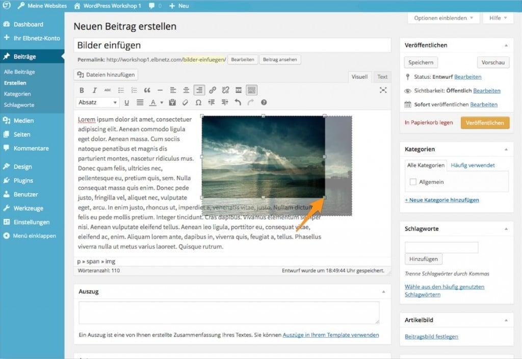 Bildgröße in WordPress anpassen