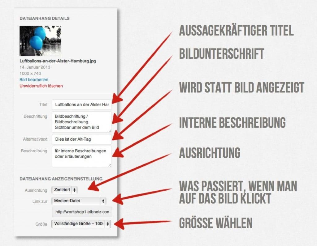 Die Liste der wichtigen Metadaten für Bilder in WordPress