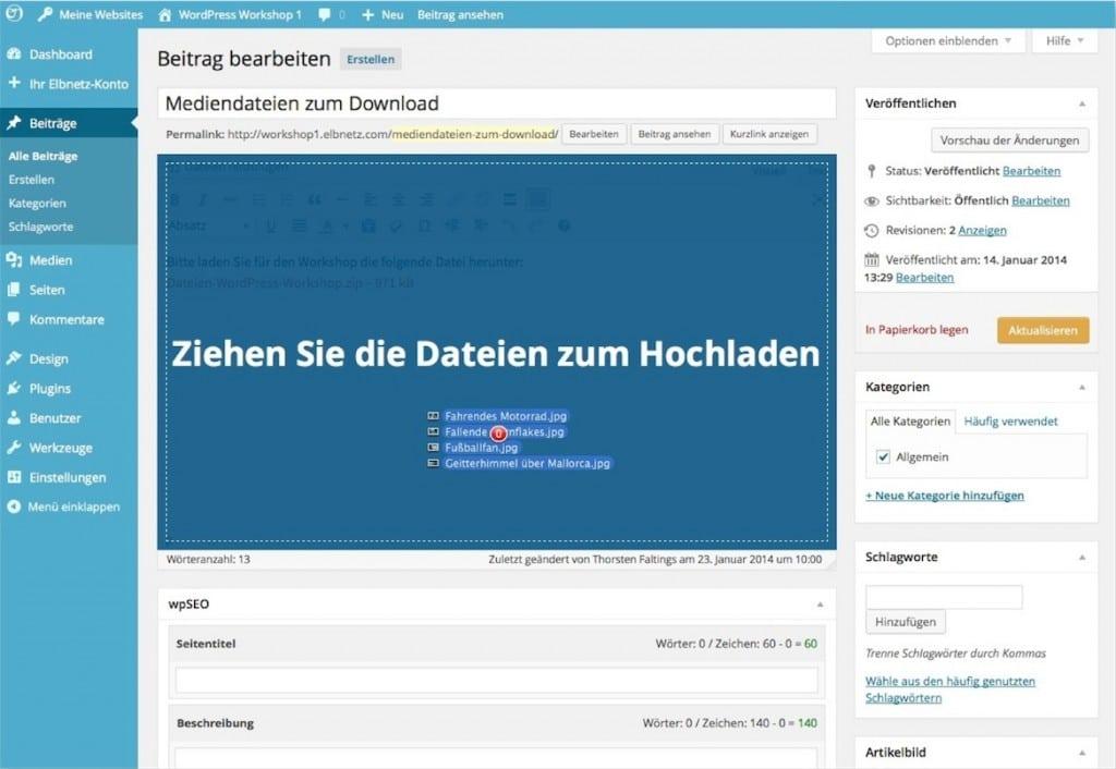 WordPress - Ziehen Sie die Datei zum Hochladen