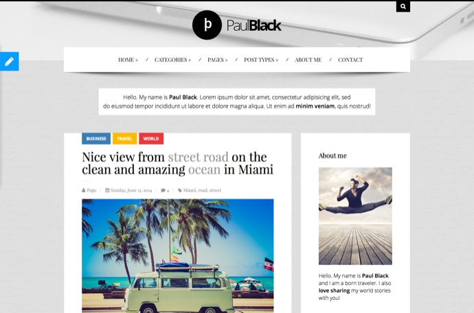 PaulBlack - Personal Blog WordPress Theme