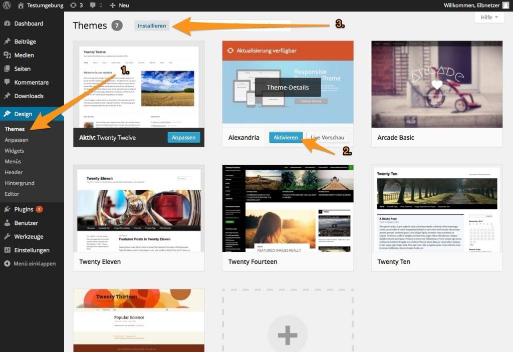 Theme-Wechsel in WordPress