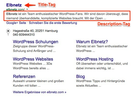 Title- und Description Tags am Beispiel Elbnetz