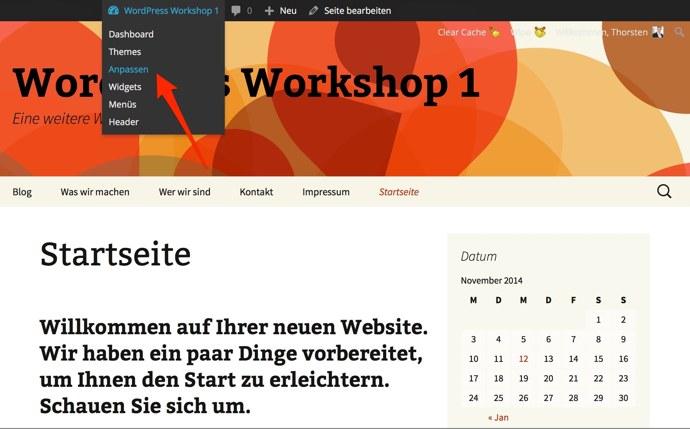 Wie Sie das Design Ihres WordPress Themes anpassen · Elbnetz-Blog
