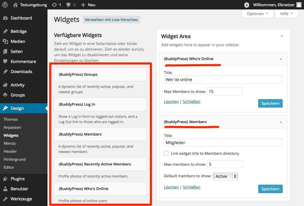 BuddyPress Widgets