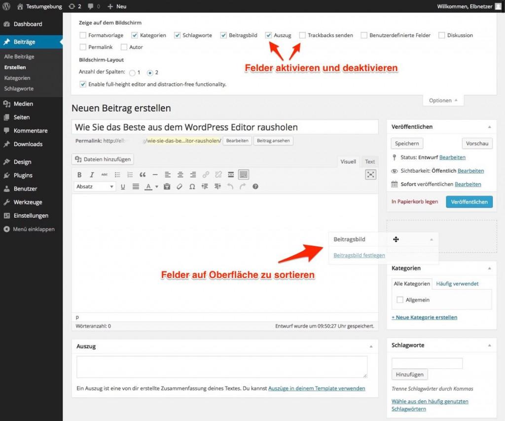Felder im WordPress Admin-Bereich zu sortieren