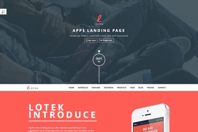 Lotek - Modern App Landing Page WordPress Theme