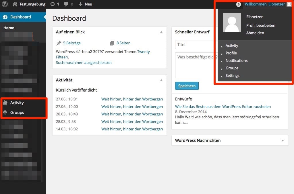 WordPress Dashboard nach der Installation von BuddyPress