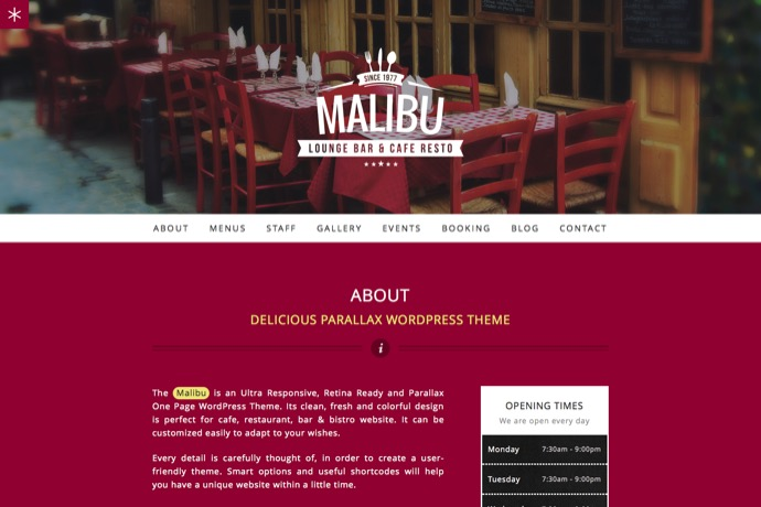 Malibu - One Page Lounge Bar und Cafe Resto WP Theme