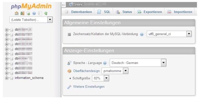 Screenshot phpMyAdmin