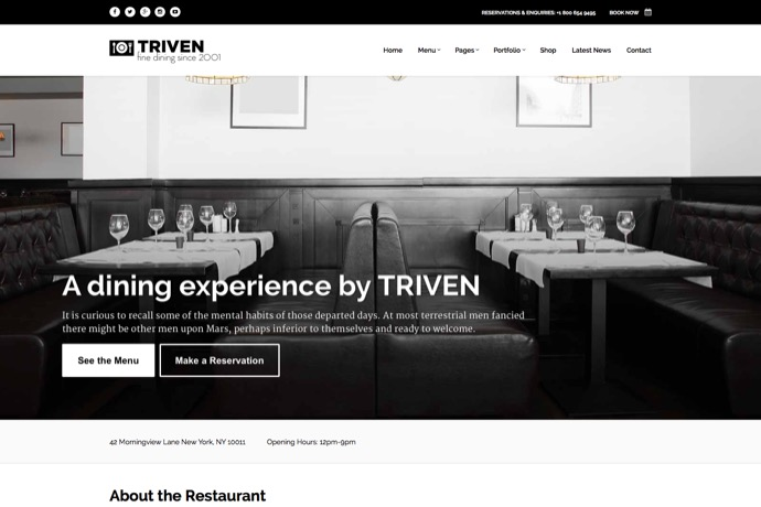 Triven Restaurant Winery Theme