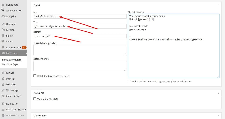 Contact Form 7 Code für die E-Mail einzukopieren