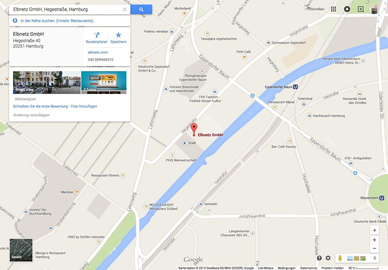 Elbnetz bei Google Maps
