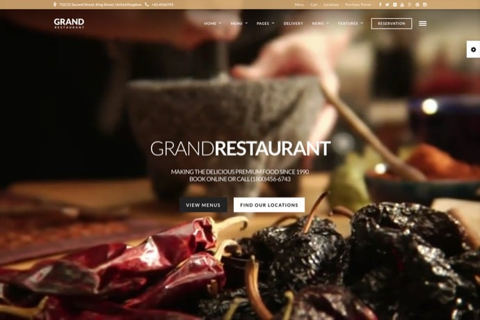 Grand Restaurant - Restaurant Cafe Theme